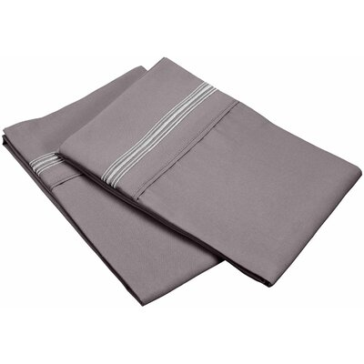 Garrick 3000 Series Solid 5-Line Embroidery Pillowcase Size: Standard, Color: Gray
