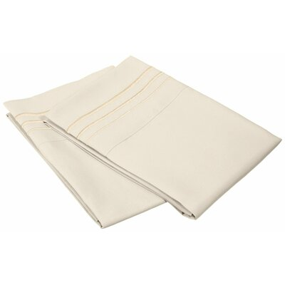 Miloe 3000 Series Solid-3 Line Embroidery Pillowcase Color: Ivory, Size: Standard