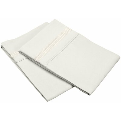 Garrick 3000 Series Solid 5-Line Embroidery Pillowcase Size: King, Color: Ivory