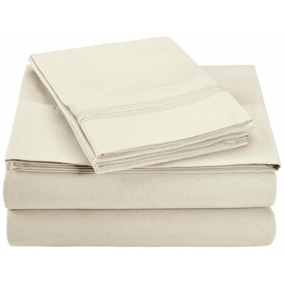 Garrick Microfiber Sheet Set Color: Ivory, Size: Twin