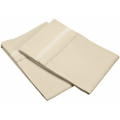 Garrick 3000 Series Solid 5-Line Embroidery Pillowcase Size: King, Color: Tan