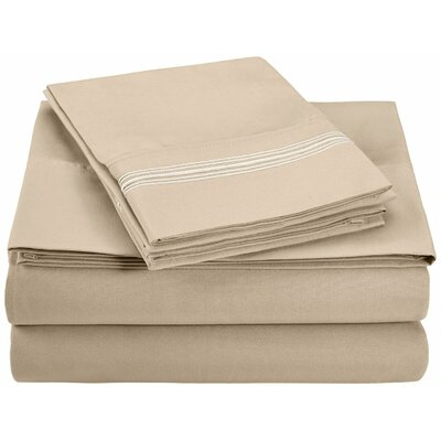 Garrick Microfiber Sheet Set Color: Tan, Size: King
