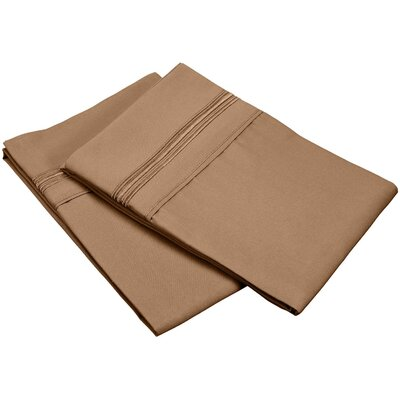 Garrick 3000 Series Solid 5-Line Embroidery Pillowcase Size: King, Color: Taupe