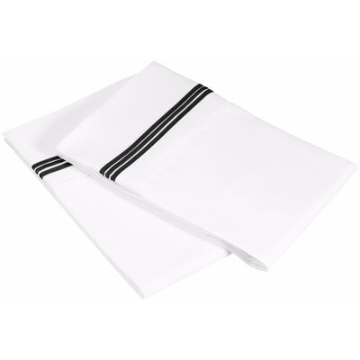 Garrick 3000 Series Solid 5-Line Embroidery Pillowcase Size: King, Color: White / Black