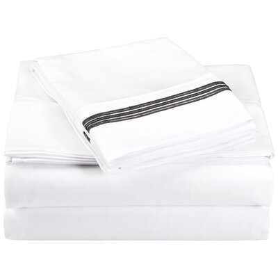 Garrick Microfiber Sheet Set Color: White/Black, Size: Full