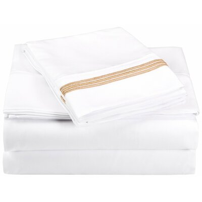 Garrick Microfiber Sheet Set Color: White/Gold, Size: Twin