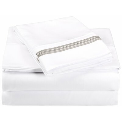 Garrick Microfiber Sheet Set Color: White/Gray, Size: Twin