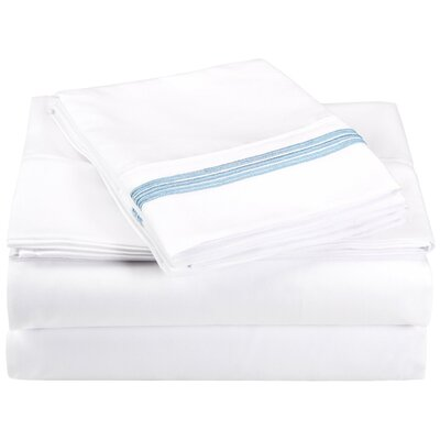 Garrick Microfiber Sheet Set Color: White/Light Blue, Size: Full