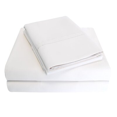 6 Piece 1000 Thread Count 100% Cotton Sheet Set Size: California King, Color: White