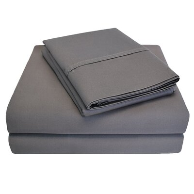 6 Piece 1000 Thread Count 100% Cotton Sheet Set Color: Charcoal, Size: King