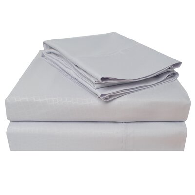 3000 Crocodile Embossed Microfiber Sheet Set Size: King, Color: Lilac