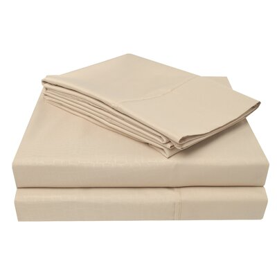 3000 Crocodile Embossed Microfiber Sheet Set Color: Beige, Size: Full