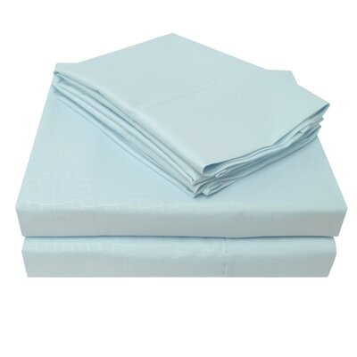 3000 Crocodile Embossed Microfiber Sheet Set Size: King, Color: Blue