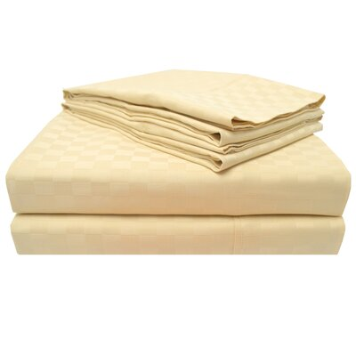4 Piece 300 Thread Count 100% Cotton Sheet Set Color: Cream, Size: Queen