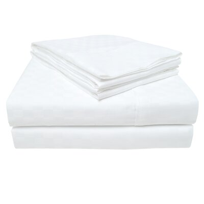 4 Piece 300 Thread Count 100% Cotton Sheet Set Size: Queen, Color: White