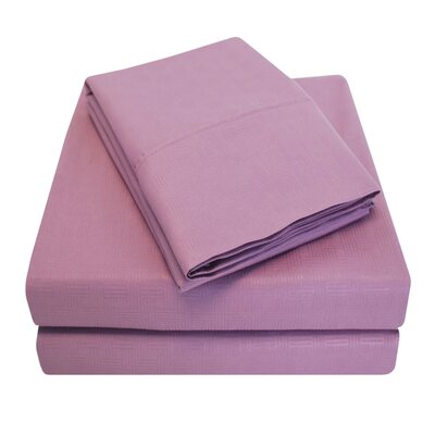 Embossed Microfiber Sheet Set Size: Full, Color: Lavender
