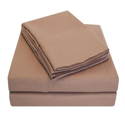 Embossed Microfiber Sheet Set Color: Taupe, Size: King
