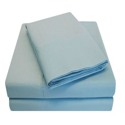Embossed Microfiber Sheet Set Size: King, Color: Blue
