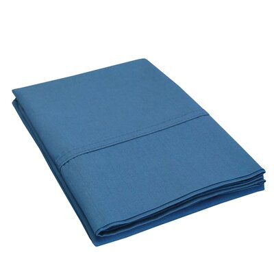 Eliot Percale Cotton 300 Thread Count Solid Pillowcase Size: King, Color: Navy Blue