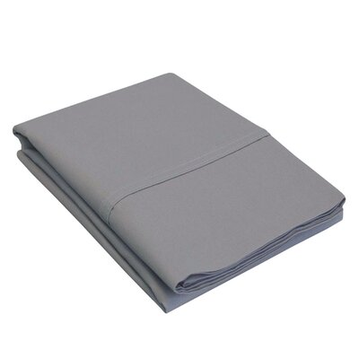 Percale Cotton 300 Thread Count Solid Pillowcase Color: Grey, Size: Standard