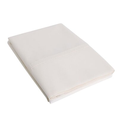 Eliot Percale Cotton 300 Thread Count Solid Pillowcase Size: King, Color: Ivory