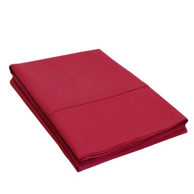 Eliot Percale Cotton 300 Thread Count Solid Pillowcase Size: King, Color: Burgundy