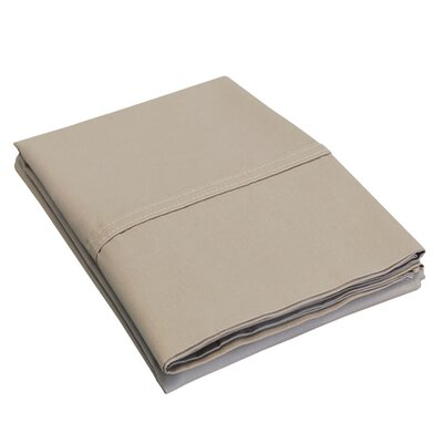 Percale Cotton 300 Thread Count Solid Pillowcase Size: King, Color: Tan