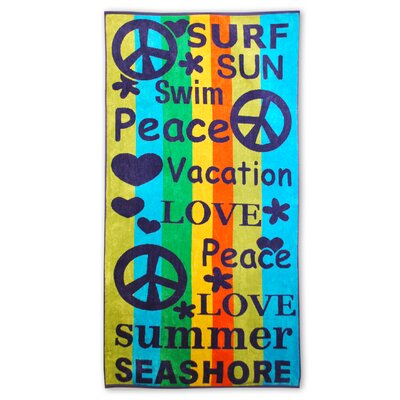 Oversized Jacquard Cotton Peace and Love Beach Towel