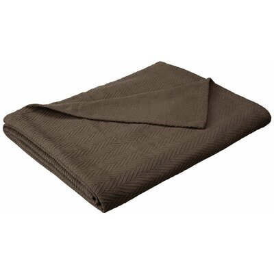 Francisco Metro Weave Cotton Blanket Color: Charcoal, Size: King
