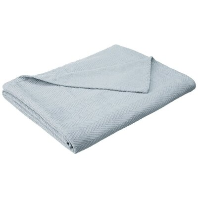 Francisco Metro Weave Cotton Blanket Color: Light Blue, Size: King