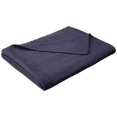 Francisco Metro Weave Cotton Blanket Color: Navy Blue, Size: King