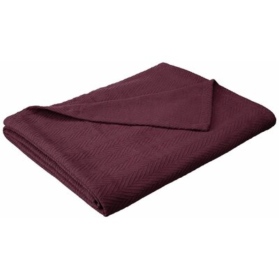 Francisco Metro Weave Cotton Blanket Color: Plum, Size: King