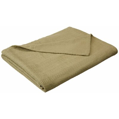 Francisco Metro Weave Cotton Blanket Color: Sage, Size: King
