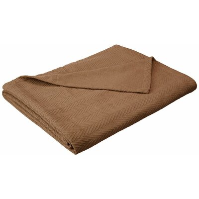 Francisco Metro Weave Cotton Blanket Color: Taupe, Size: King