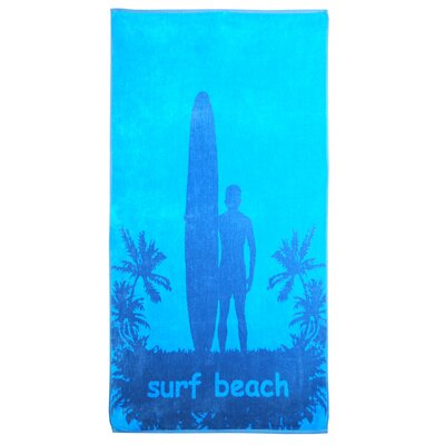 Oversize Jacquard Surfer and Palm Trees Beach Towel