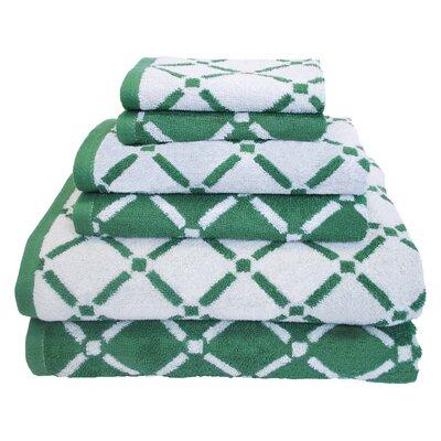 Luxurious Diamonds 6 Piece Towel Set Color: Hunter Green/Cream