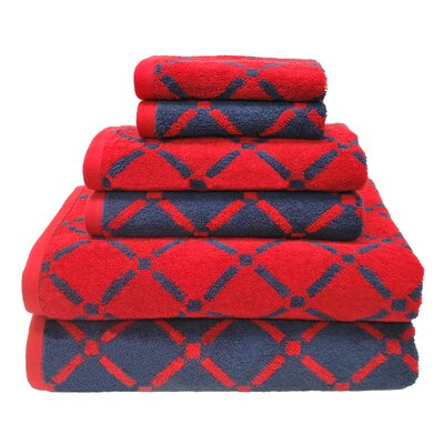 Luxurious Diamonds 6 Piece Towel Set Color: Red/Navy Blue