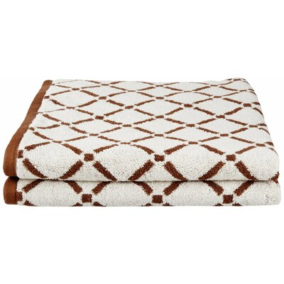 Larksville Luxurious Diamonds Bath Towel Color: Chocolate/Cream