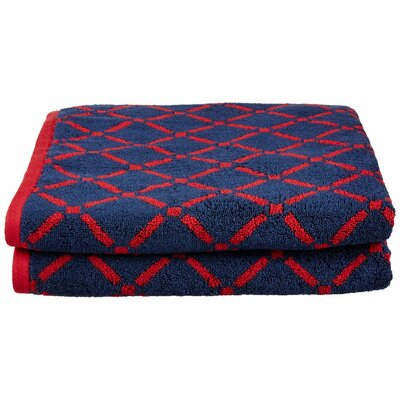 Luxurious Diamonds Cotton Bath Towel Color: Red/Navy Blue