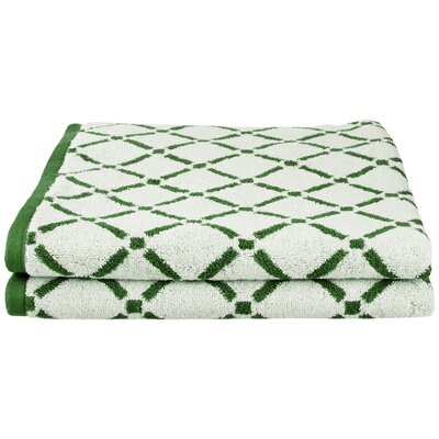 Luxurious Diamonds Cotton 2-Piece Towel Set Color: Hunter Green/Cream