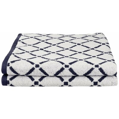 Luxurious Diamonds Cotton 2-Piece Towel Set Color: Charcoal/White