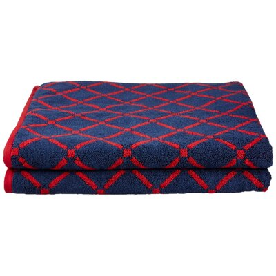 Luxurious Diamonds Bath Towel Color: Red/Navy Blue