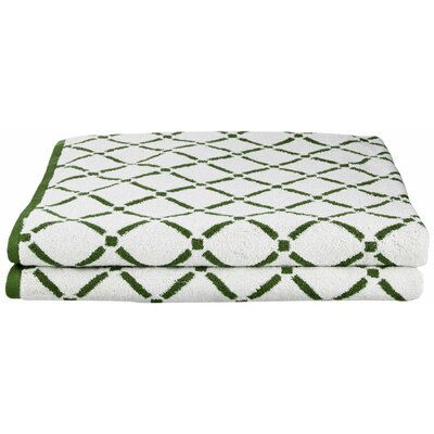 Luxurious Diamonds Bath Towel Color: Hunter Green/Cream