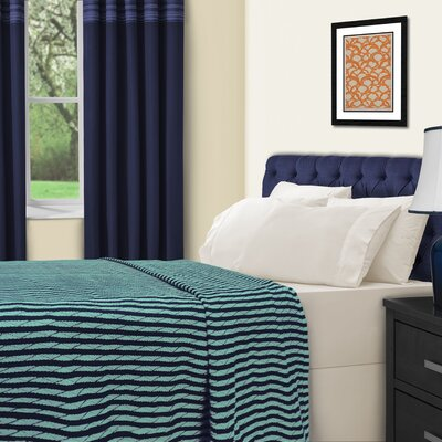 Dores All-Season Cotton Blanket Color: Navy Blue / Turquoise, Size: King