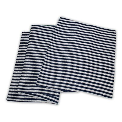 Dores All-Season Cotton Blanket Color: Navy Blue / White, Size: King