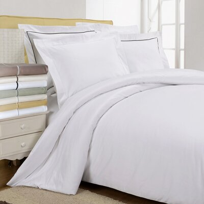 Tipton 3 Piece Embroidered Reversible Duvet Cover Set Size: Full / Queen, Color: White / Black