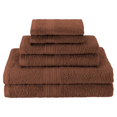 Patric Soft 6 Piece Towel Set Color: Brown