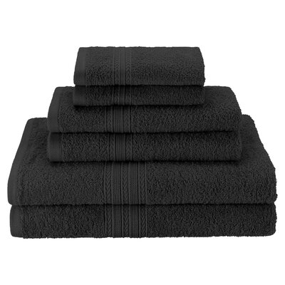 Patric Soft 6 Piece Towel Set Color: Black