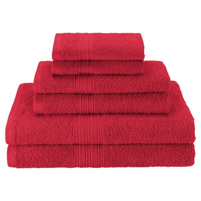 Patric Soft 6 Piece Towel Set Color: Cranberry