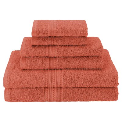 Patric Soft 6 Piece Towel Set Color: Coral